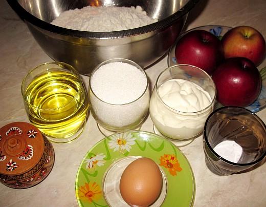Быстрый пирог с яблоками. Фото рецепт