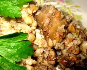 Куриная печень с гречкой. Готовим быстрый обед
